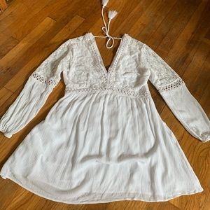 Altar'd State White Lacy Long Sleeve Dress
